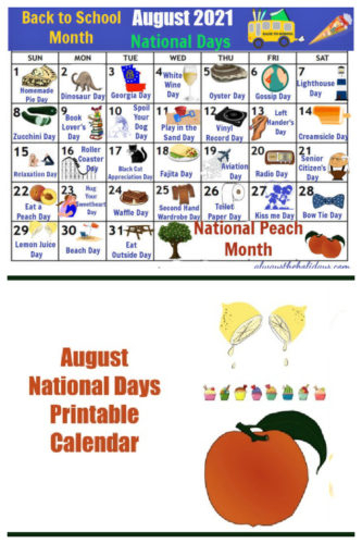August National Day Calendar - Free Printable Of National