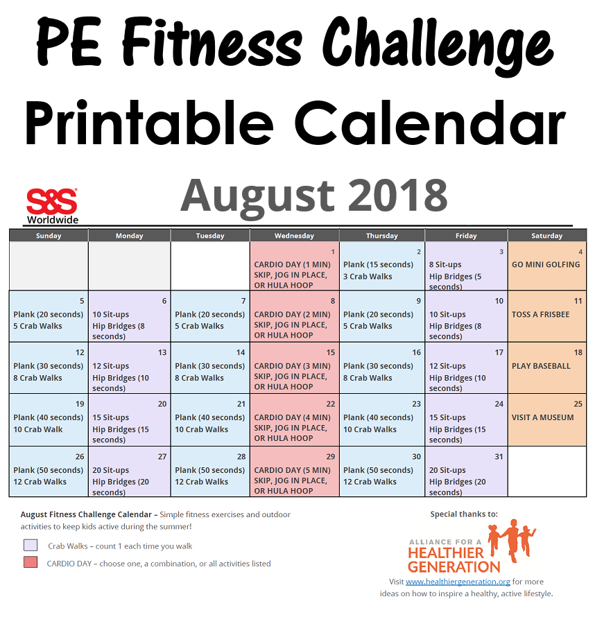 August Printable Fitness Challenge Calendar - S&S Blog
