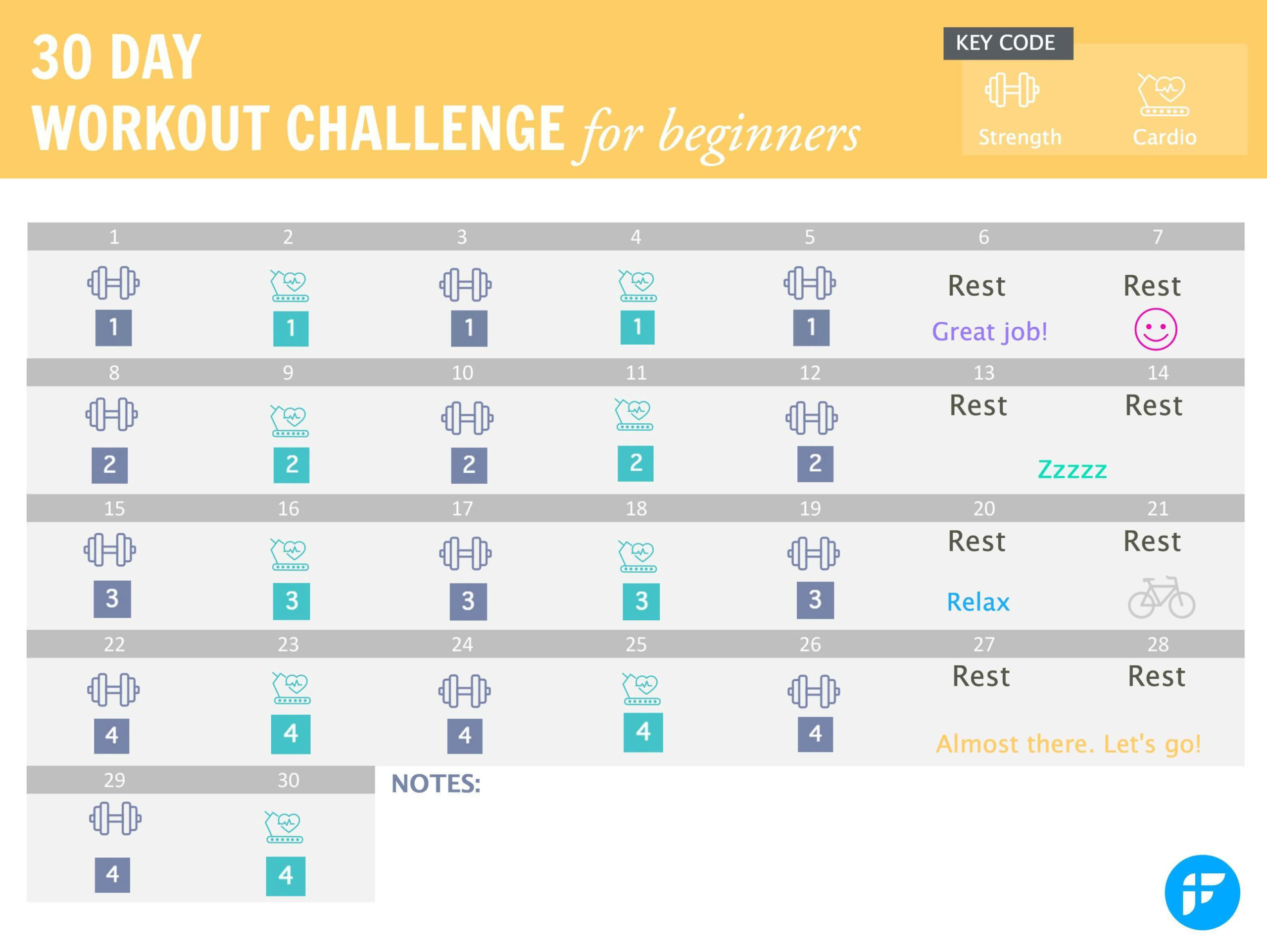 Blank 30 Day Fitness Calendar | Printable Calendar 2021-2022