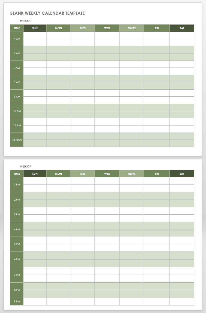 Blank Calendar Sunday Through Saturday - Calendar
