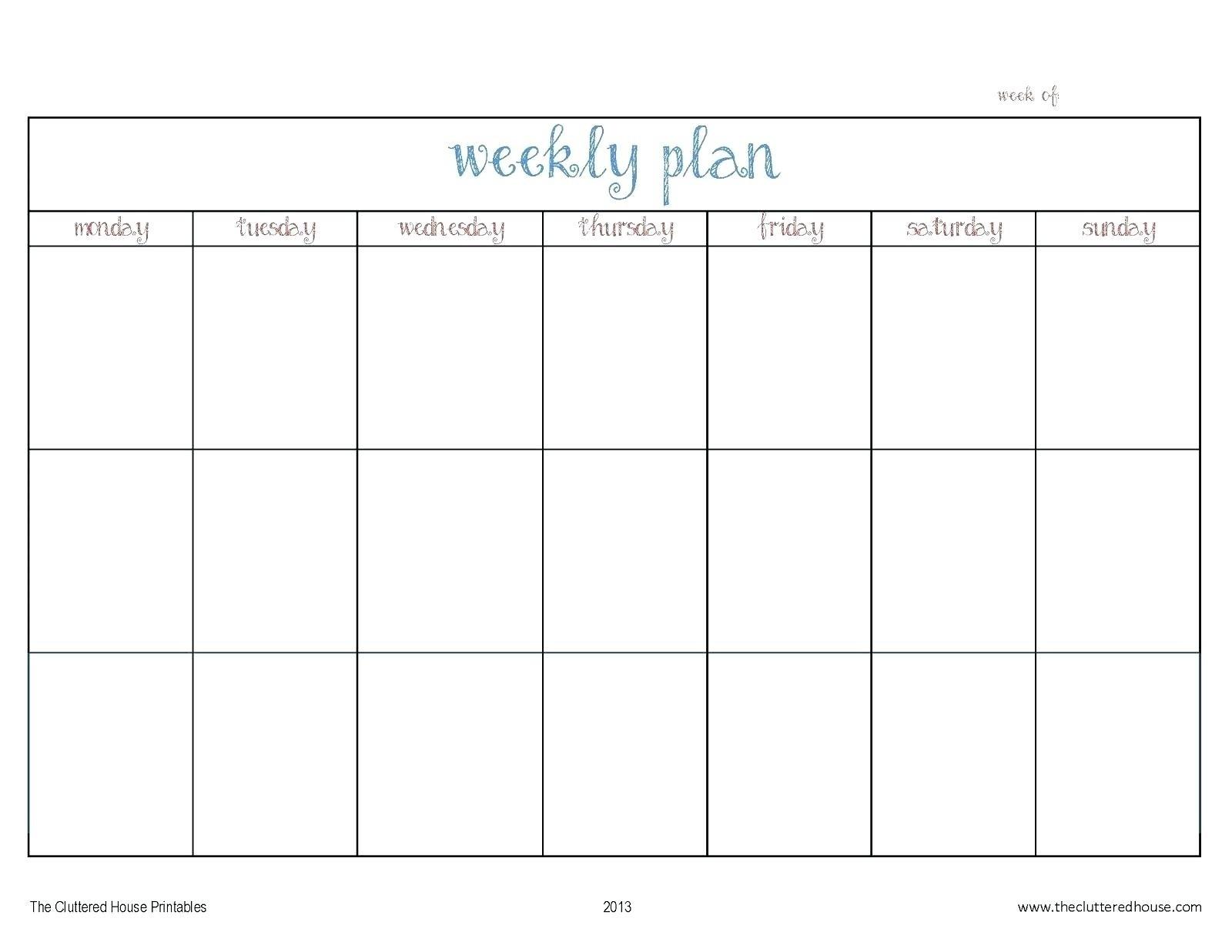 Blank Monday Through Friday Calendars | Calendar Template