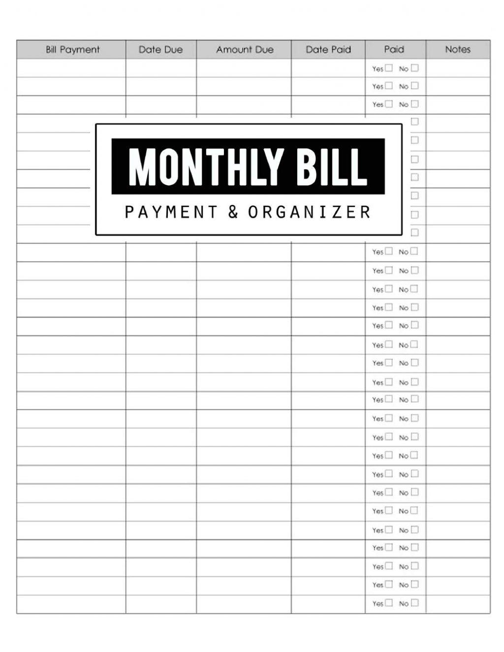 Blank Monthly Bill Payment Sheet   Free Calendar Template