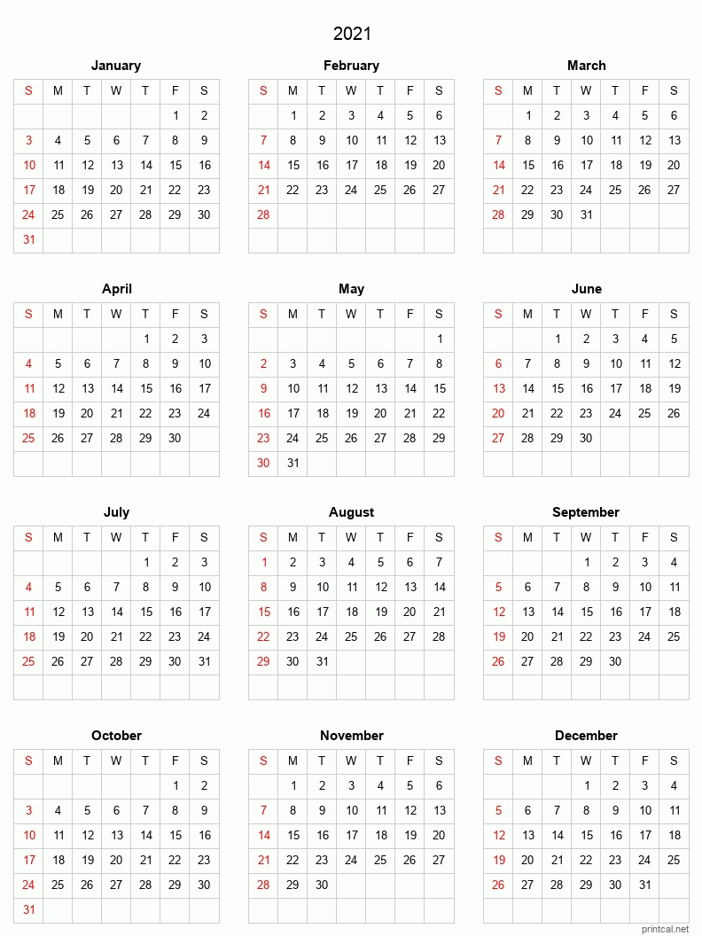 Blank Yearly Calendar 2021   Calendar Template Printable