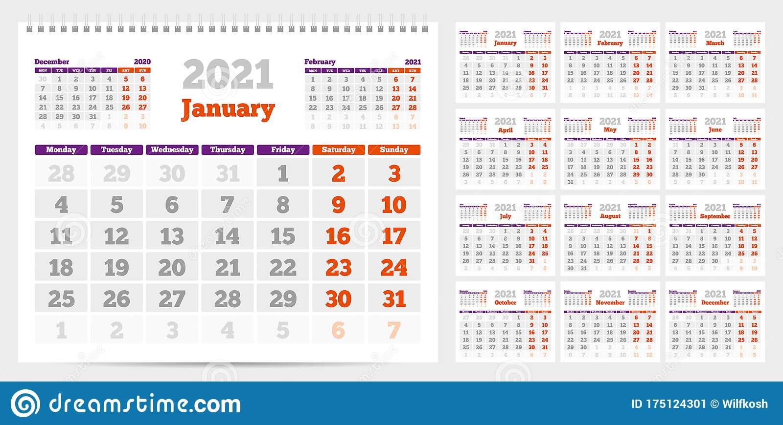 Calendar 2021. Week Start From Monday. Set Of 12 Months