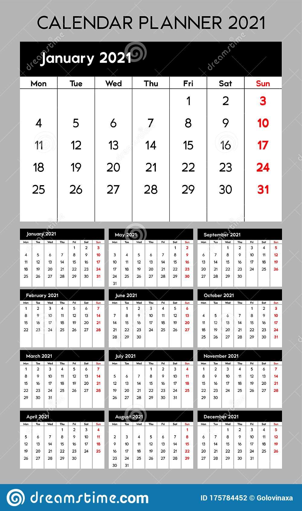 Calendar Planner 2021, Base Template Design. Week Starts