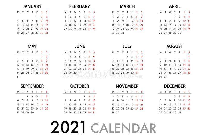Calendar Planner 2021 Week Starts Monday. Simple Vector