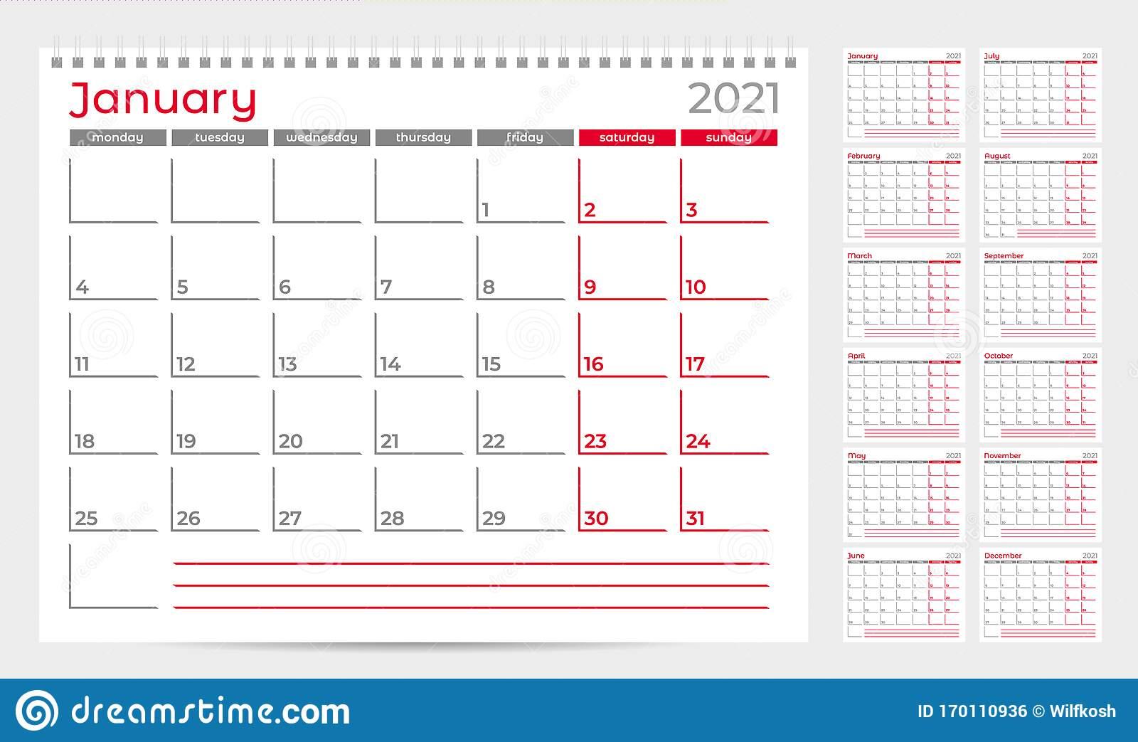 Calendar Planner Template 2021. Week Start From Monday