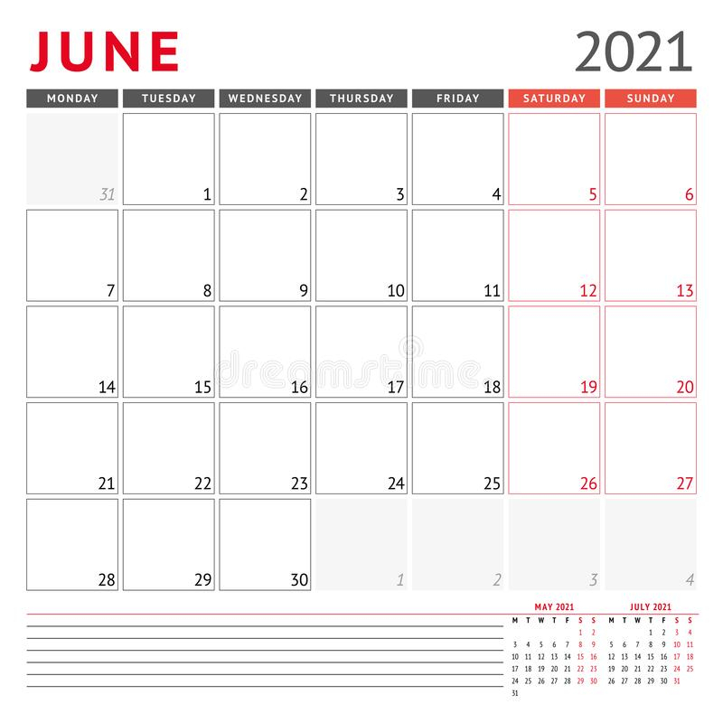 Calendar Template For June 2021. Business Monthly Planner