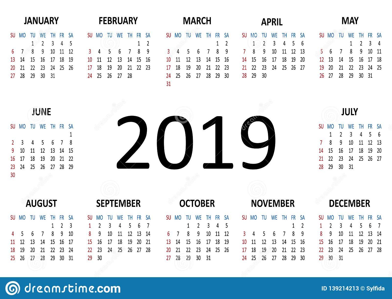 Calendar. Week Starts From Sunday. Vector Illustration