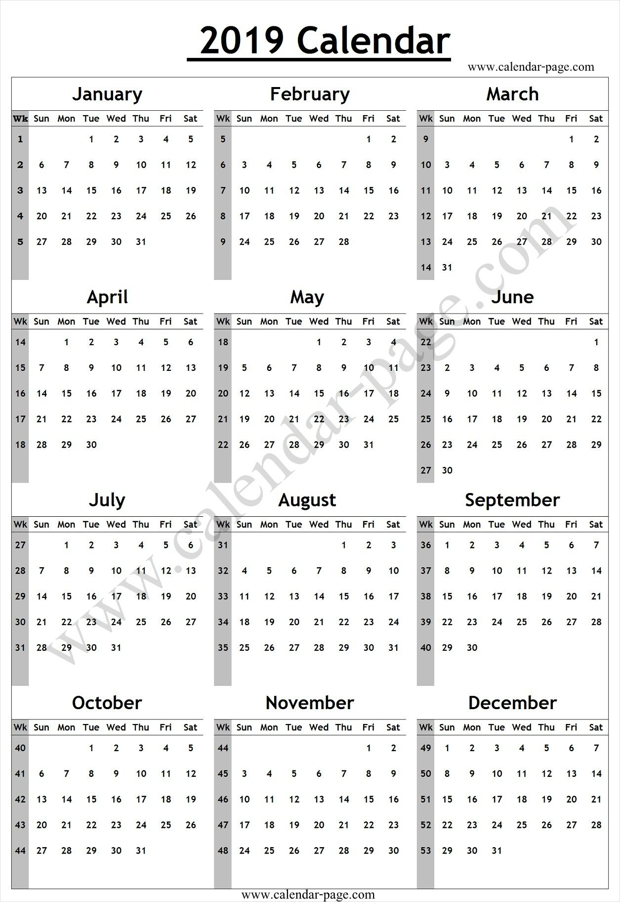 Calendar Yearly With Week Numbers