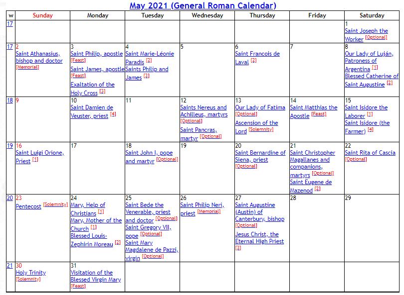 Catholic Liturgical Calendar 2021 Pdf : 2021 Catholic