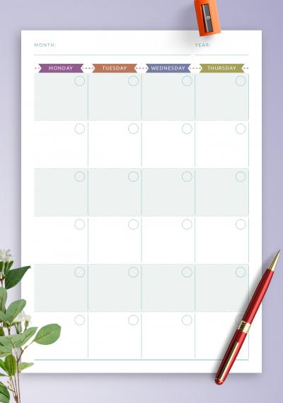 Download Printable Monthly Calendar Planner Undated