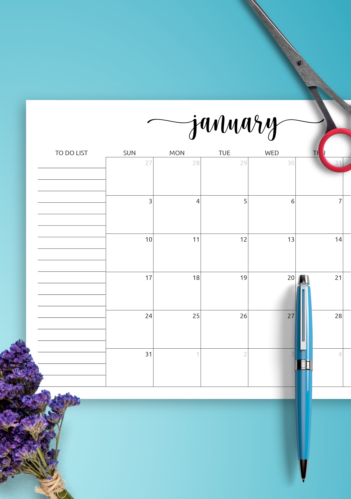 Download Printable Monthly Calendar With To-Do List Pdf