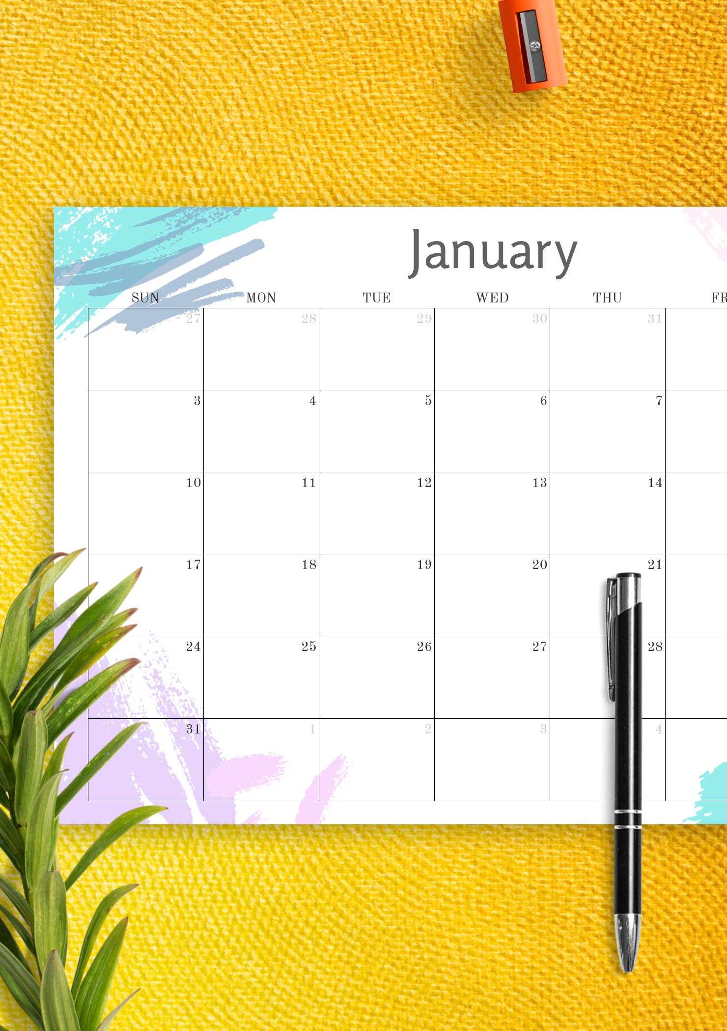 Download Printable Simple Colored Monthly Calendar Pdf