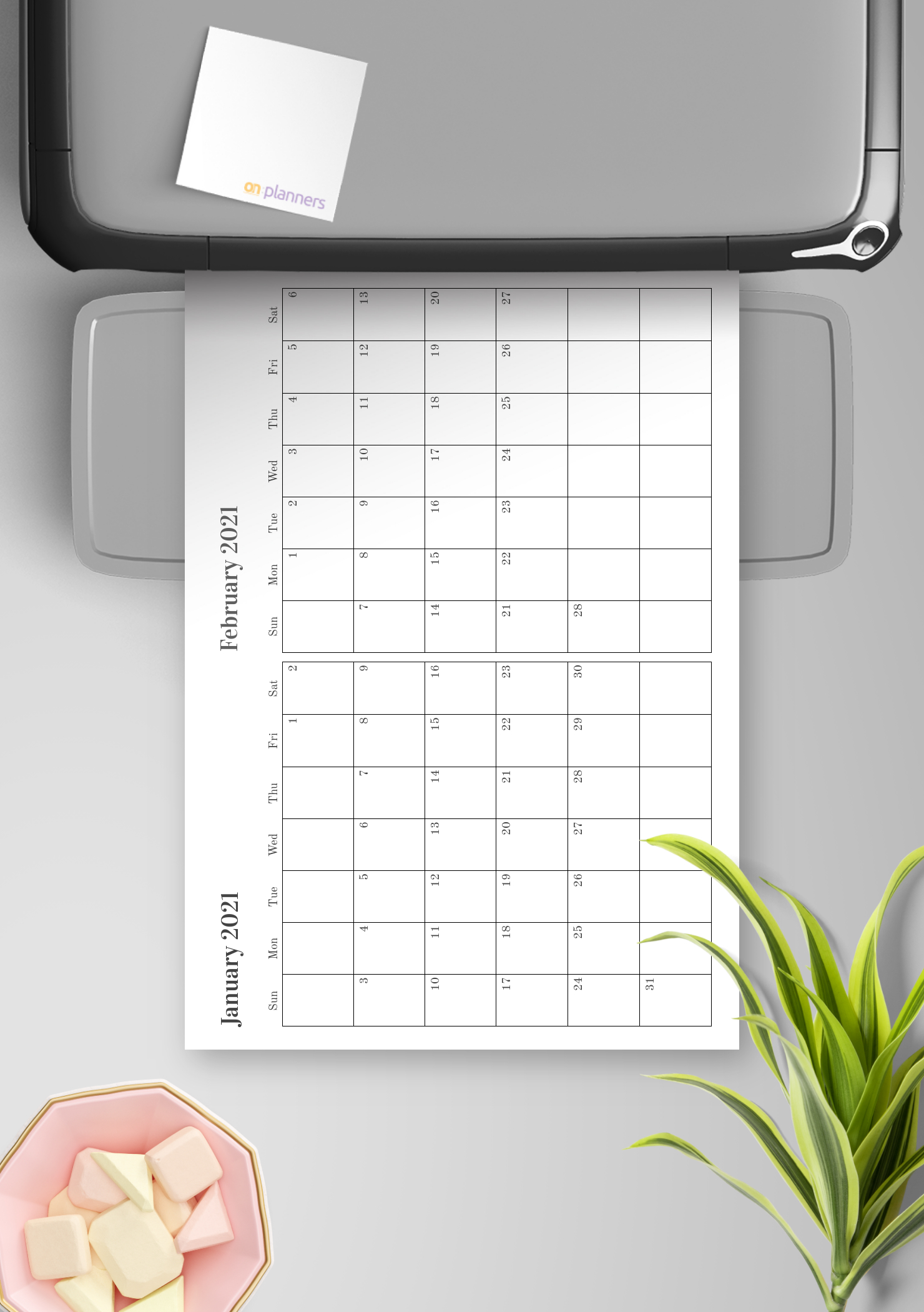 Download Printable Two Months On One Page Calendar Pdf