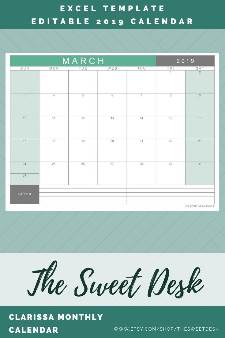Editable 2019 Calendar, Printable Monthly Planner, Monthly