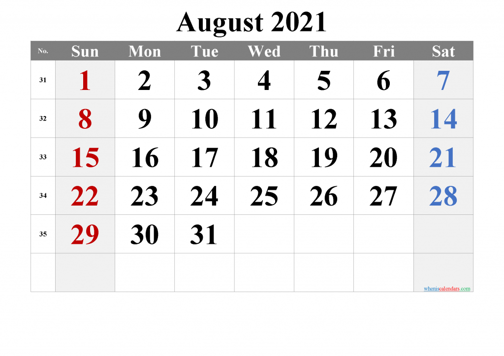 Editable August 2021 Calendar-Template No.tr21M20 | Free