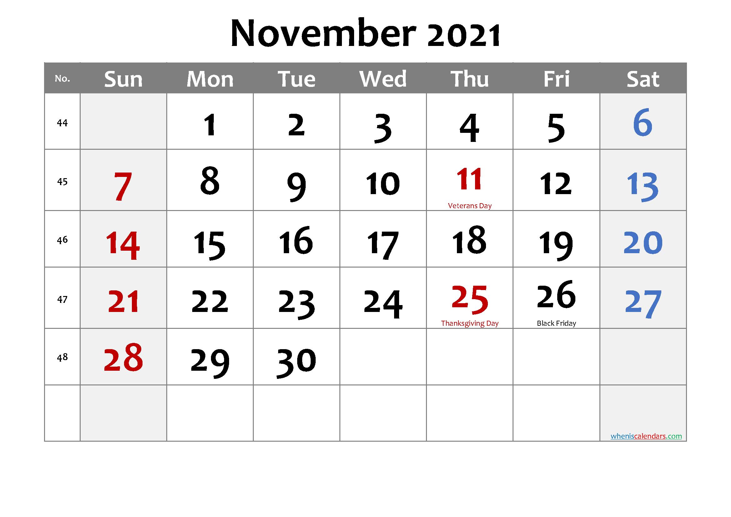 Editable November 2021 Calendar-Template No.cd21M23   Free