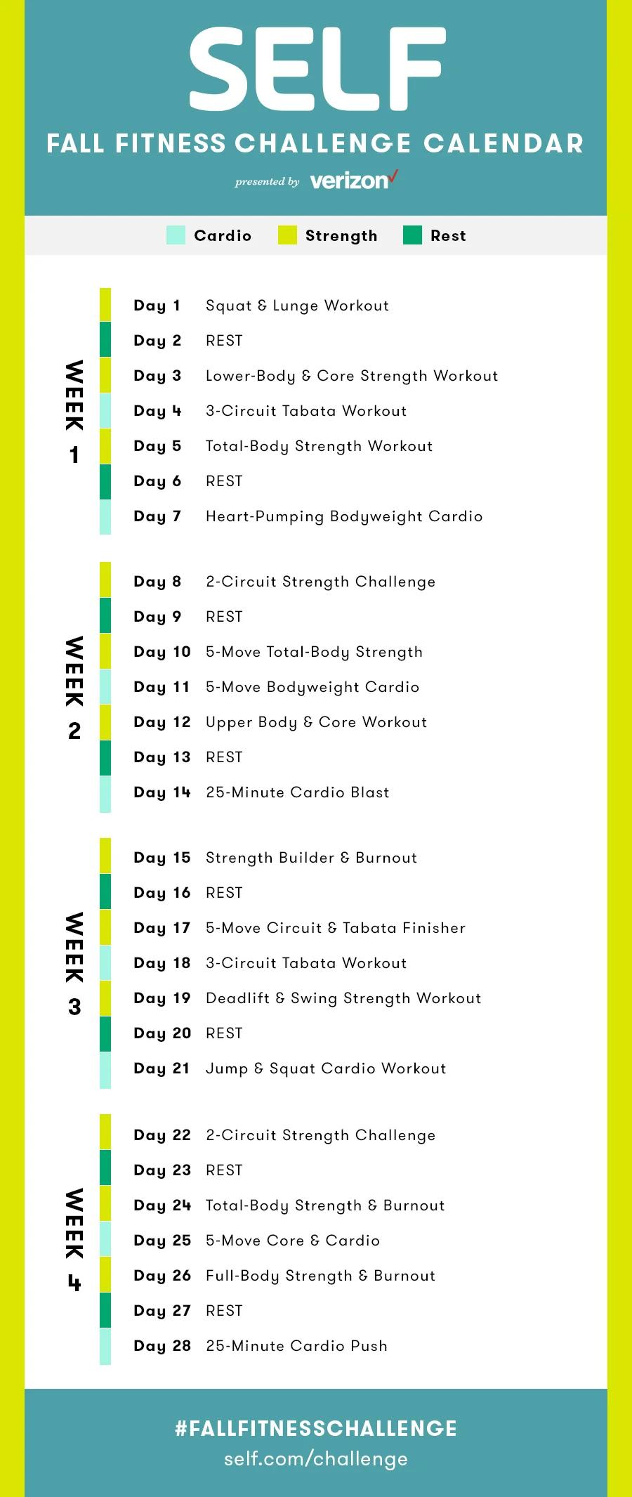 Fall Fitness Challenge Calendar   Fall Fitness Challenge