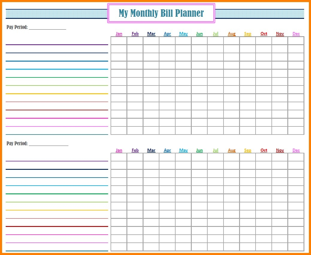Fillable Monthly Bill Payment Worksheet - Template