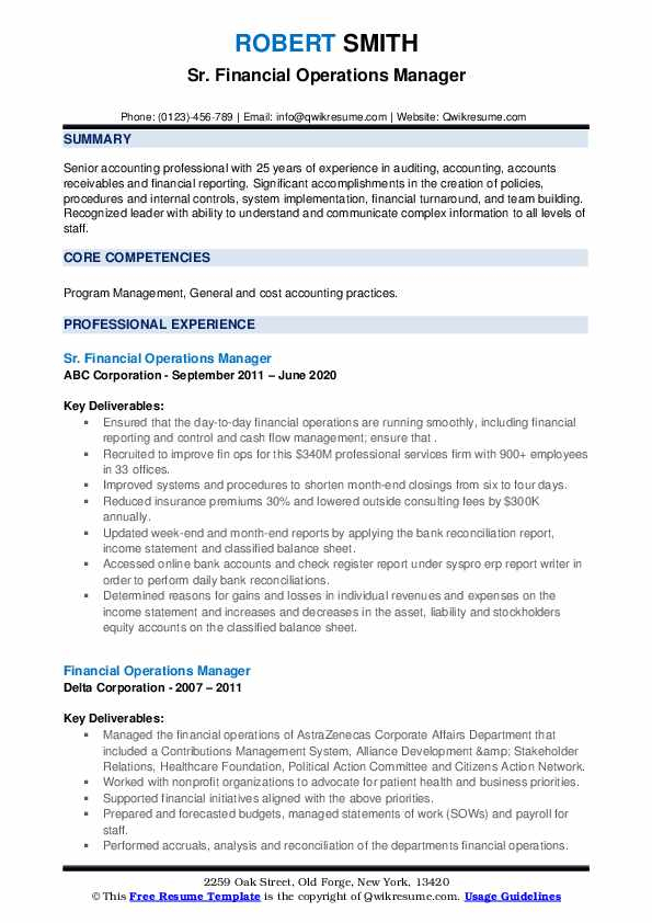 Financial Operations Manager Resume Samples | Qwikresume