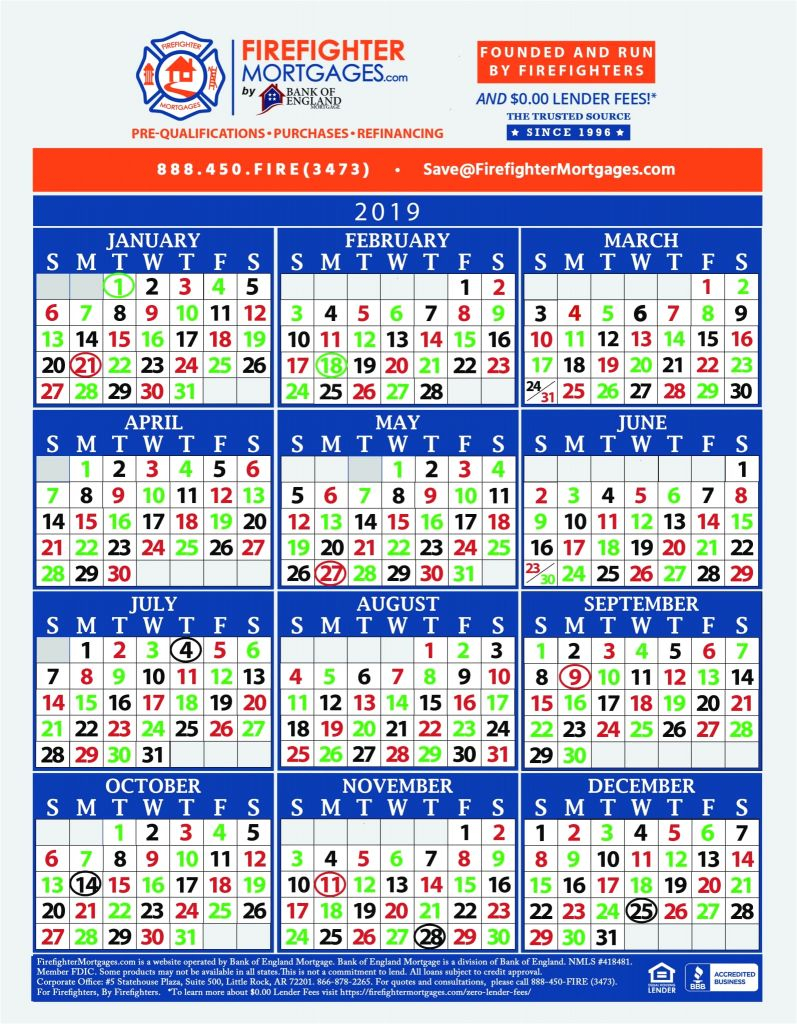 Firefighter Shift Calendar 2020 Printable | Example
