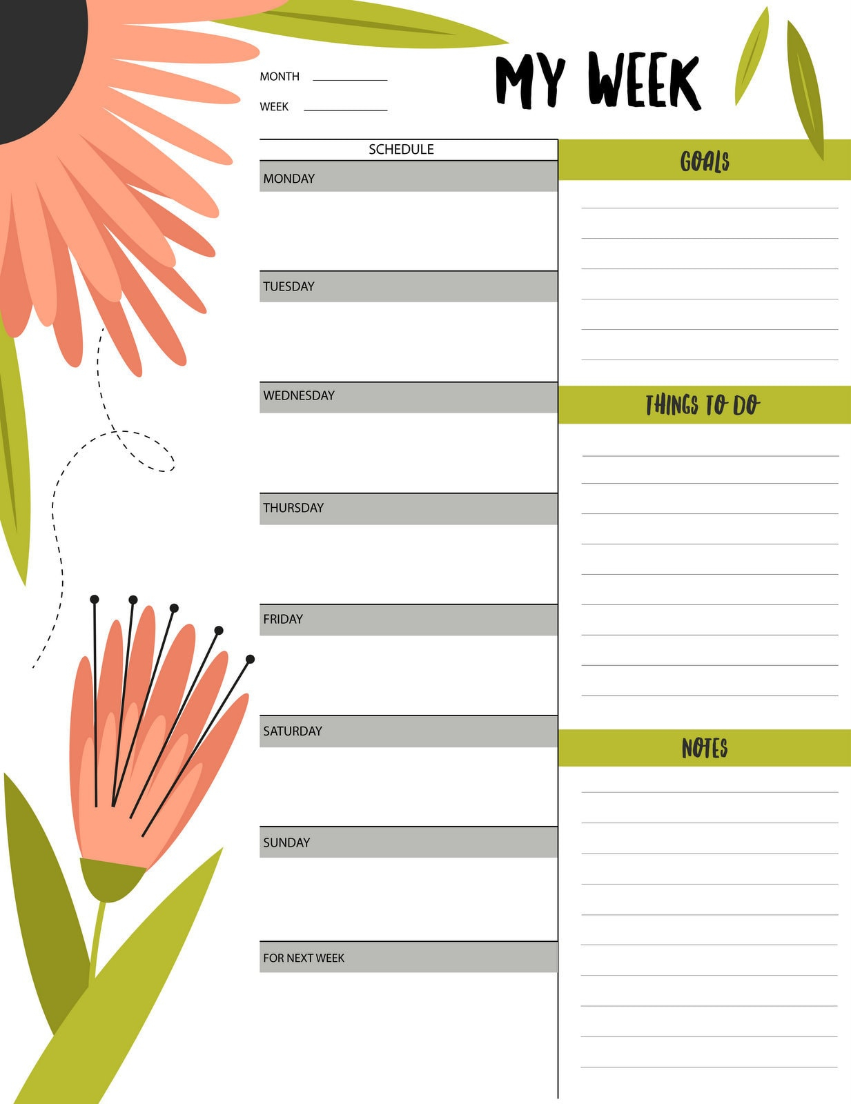 """Floral """"My Week"""" Schedule & To-Do List Printable - Free"""