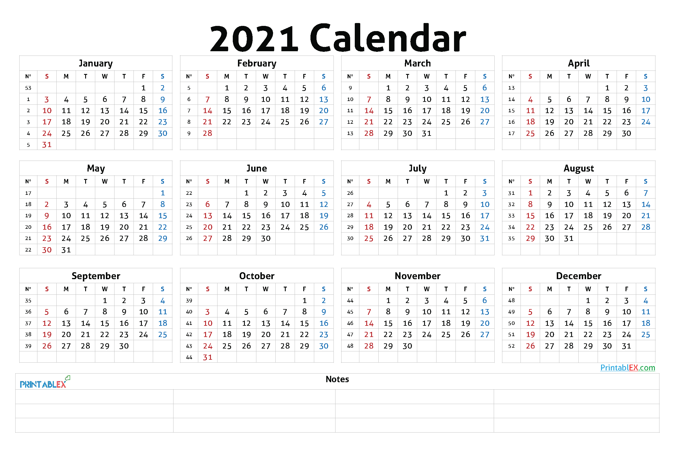 Free 2021 Yearly Calender Template : Calendar Yearly
