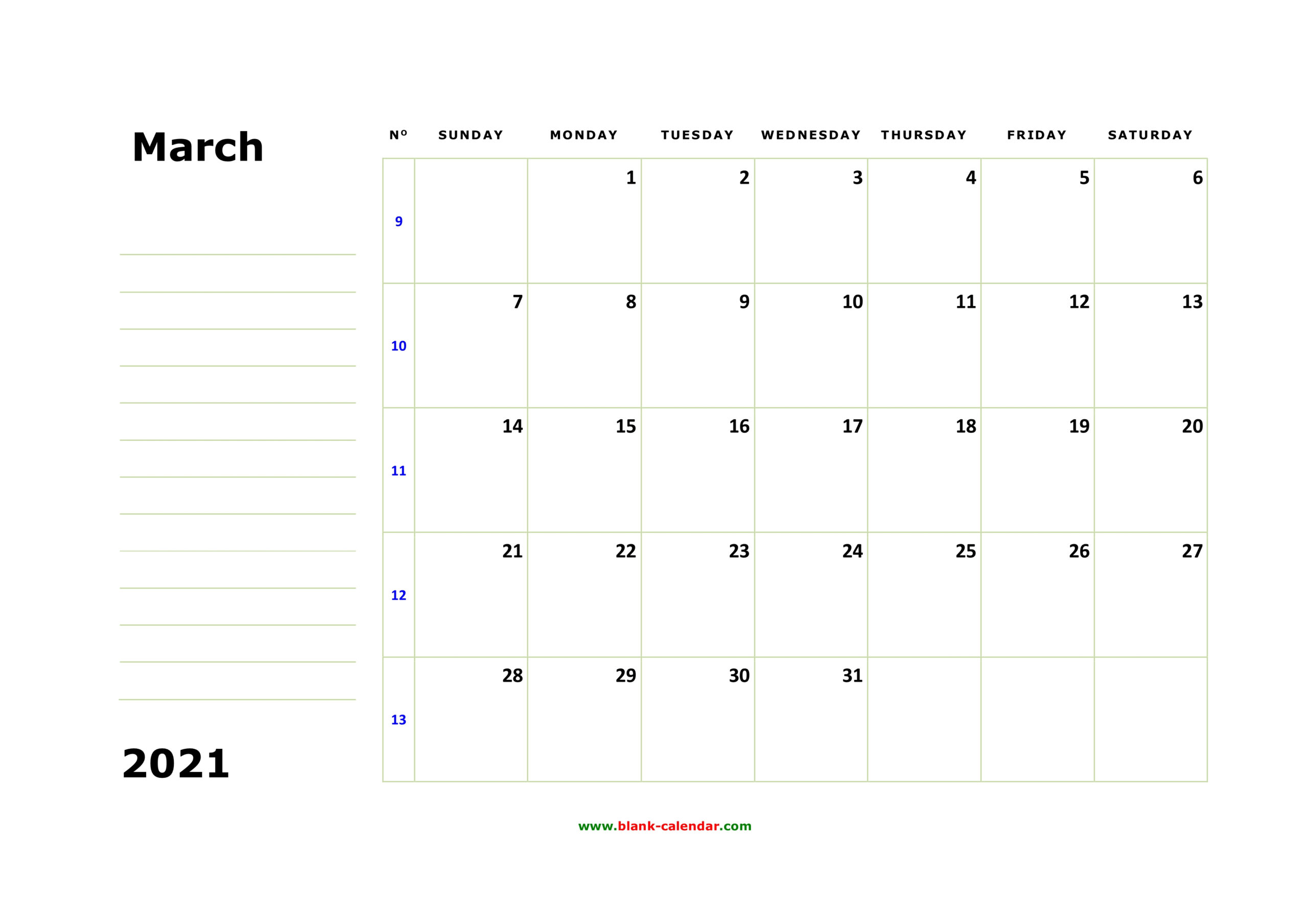 Free Download Printable March 2021 Calendar, Large Box, Holidays Listed, Space For Notes