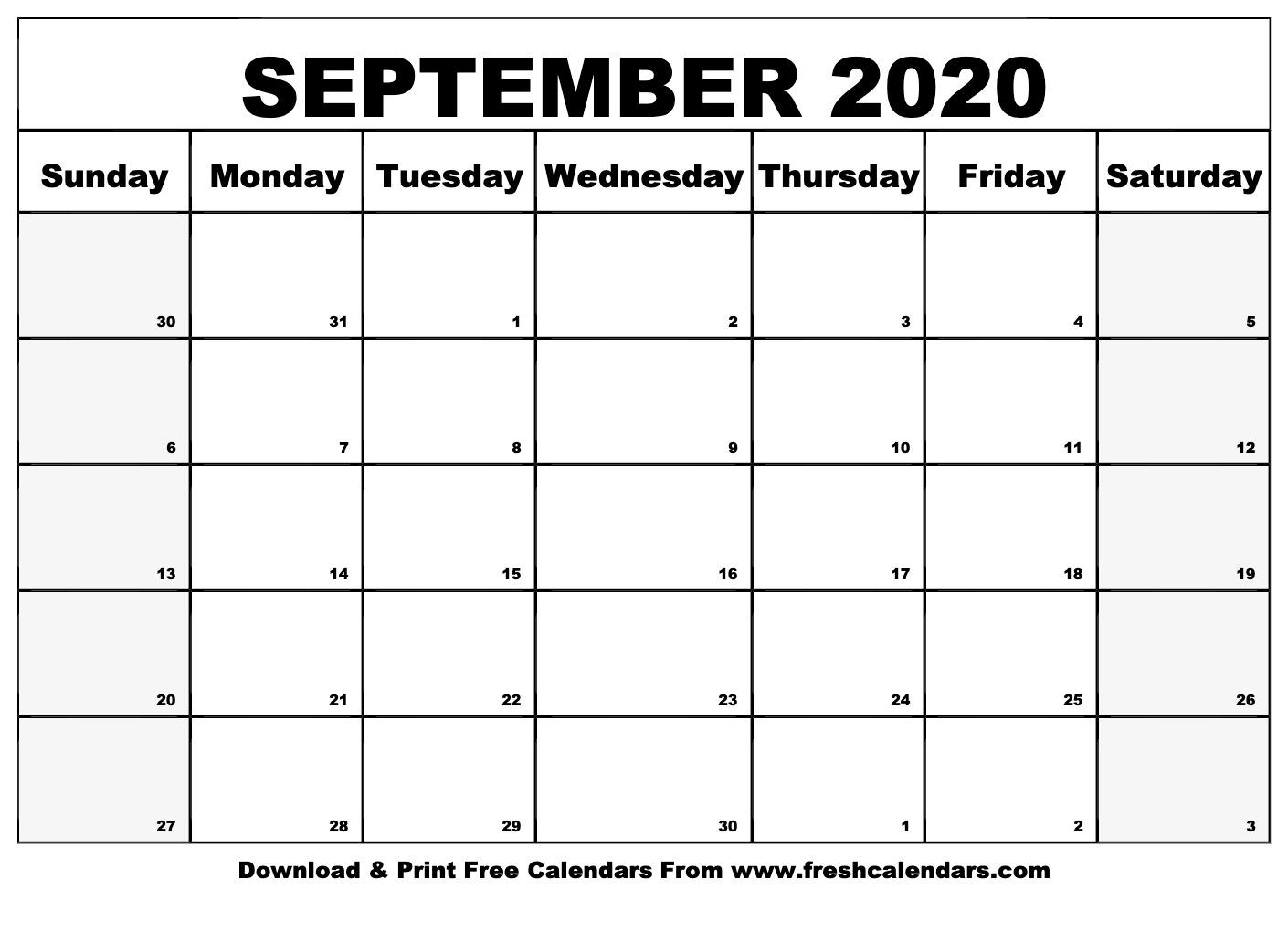 Free Editable Printable September 2020 Week Start With