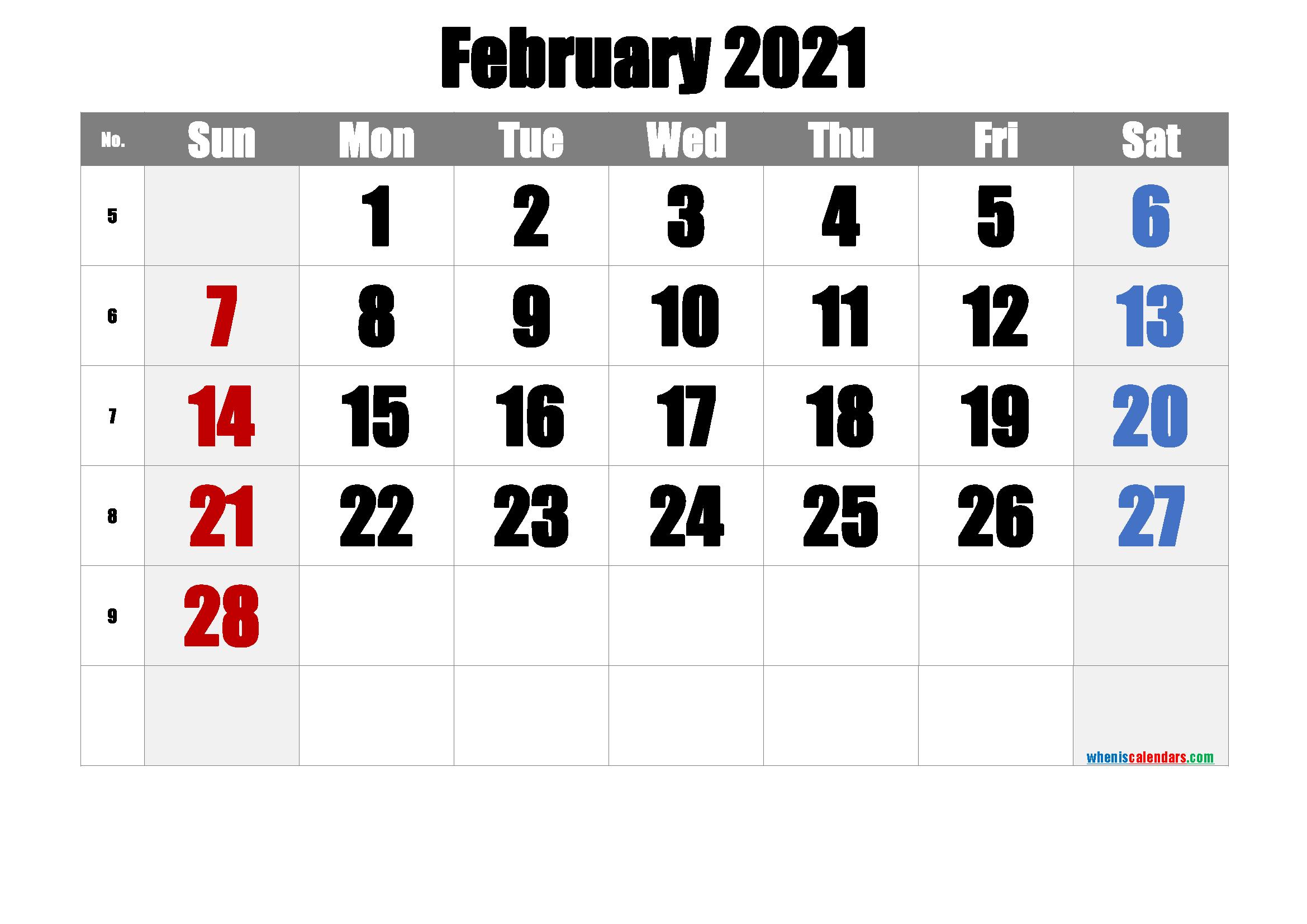 Free February 2021 Calendar [Free Premium]   Calendar Printables, February 2021 Calendar