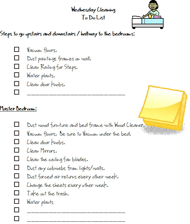 Free Monday Thru Friday Cleaning Checklists - Wednesday