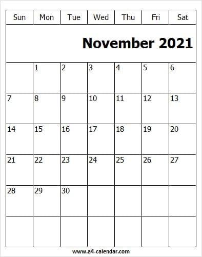 Free November 2021 Calendar To Print - A4 Calendar