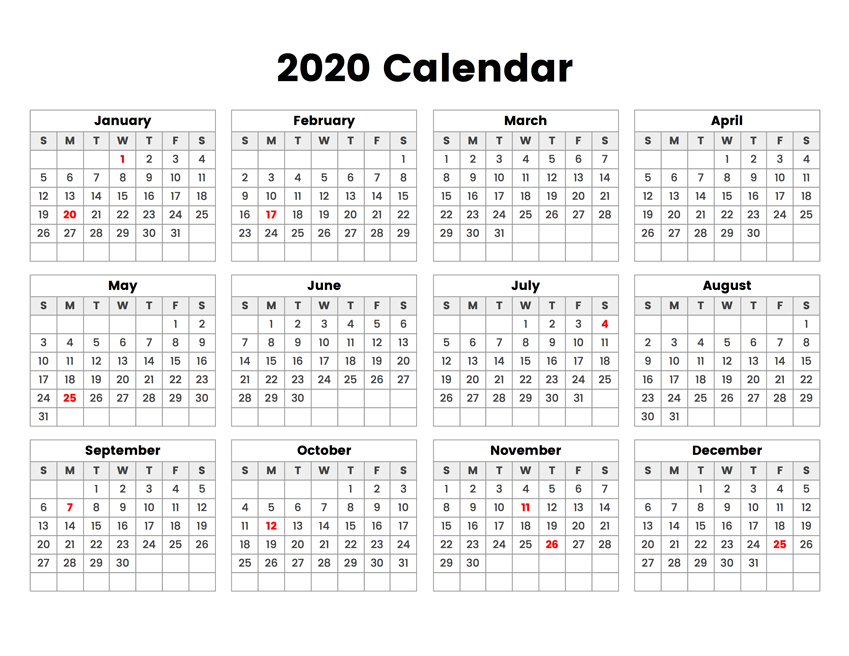 Free Printable 2020 Calendar - One Page Template   12