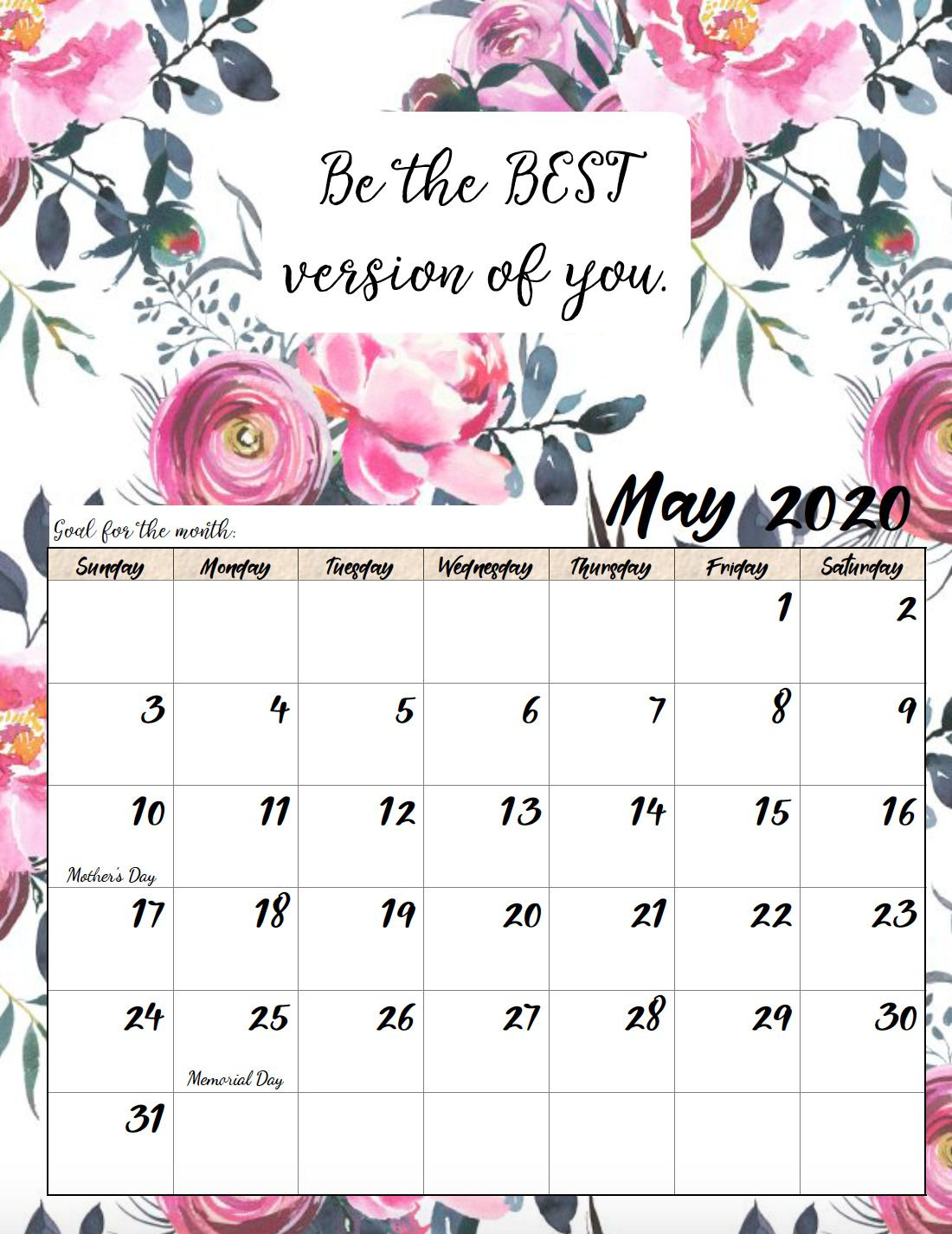 Free Printable 2020 Monthly Motivational Calendars | Free