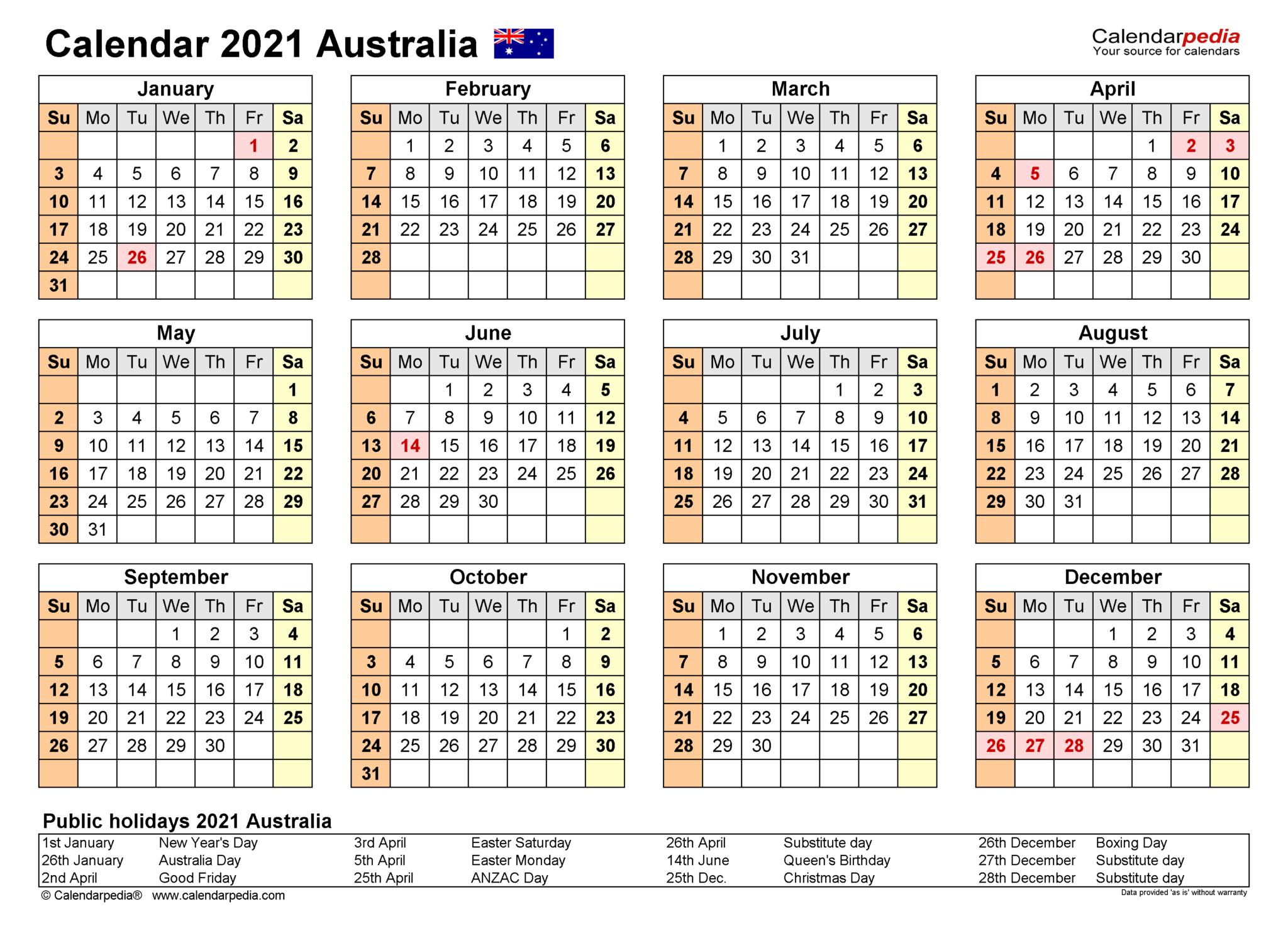 Free Printable 2021 Yearly Calendars