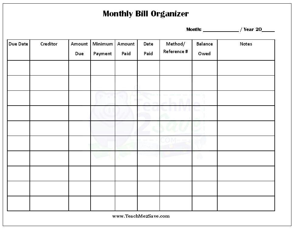 Free Printable | Bill Payment Organization, Bill Planner