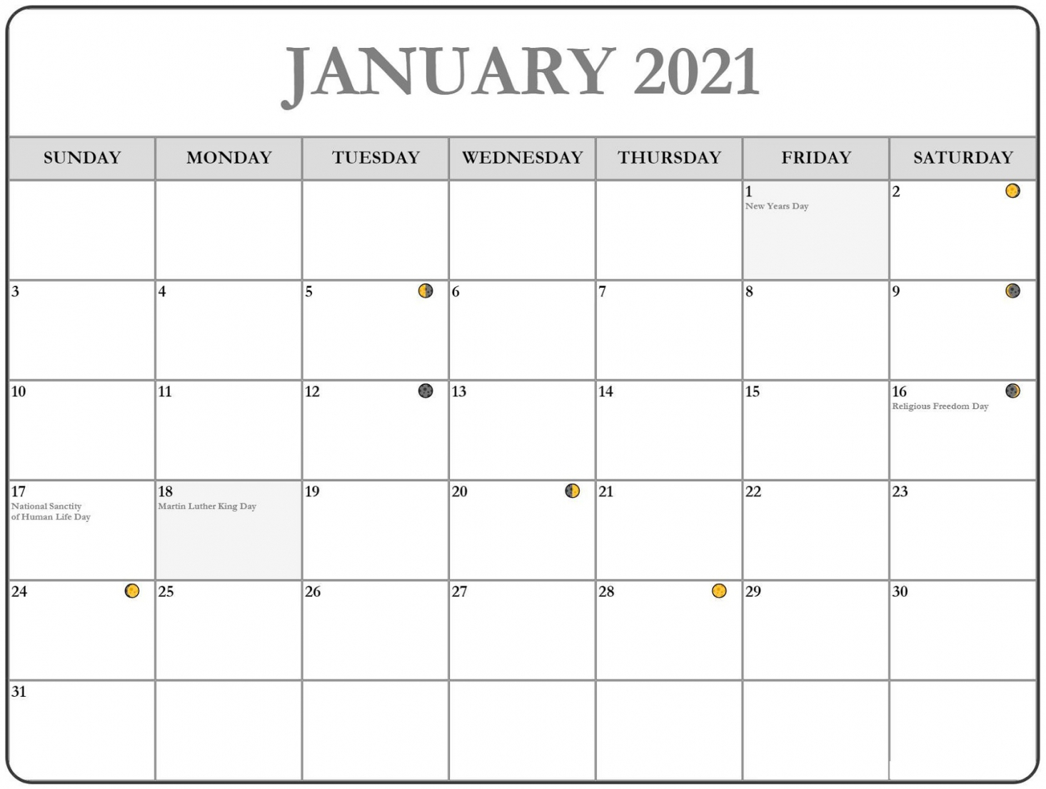 Free Printable Monthly Calendar With Holidays | Free
