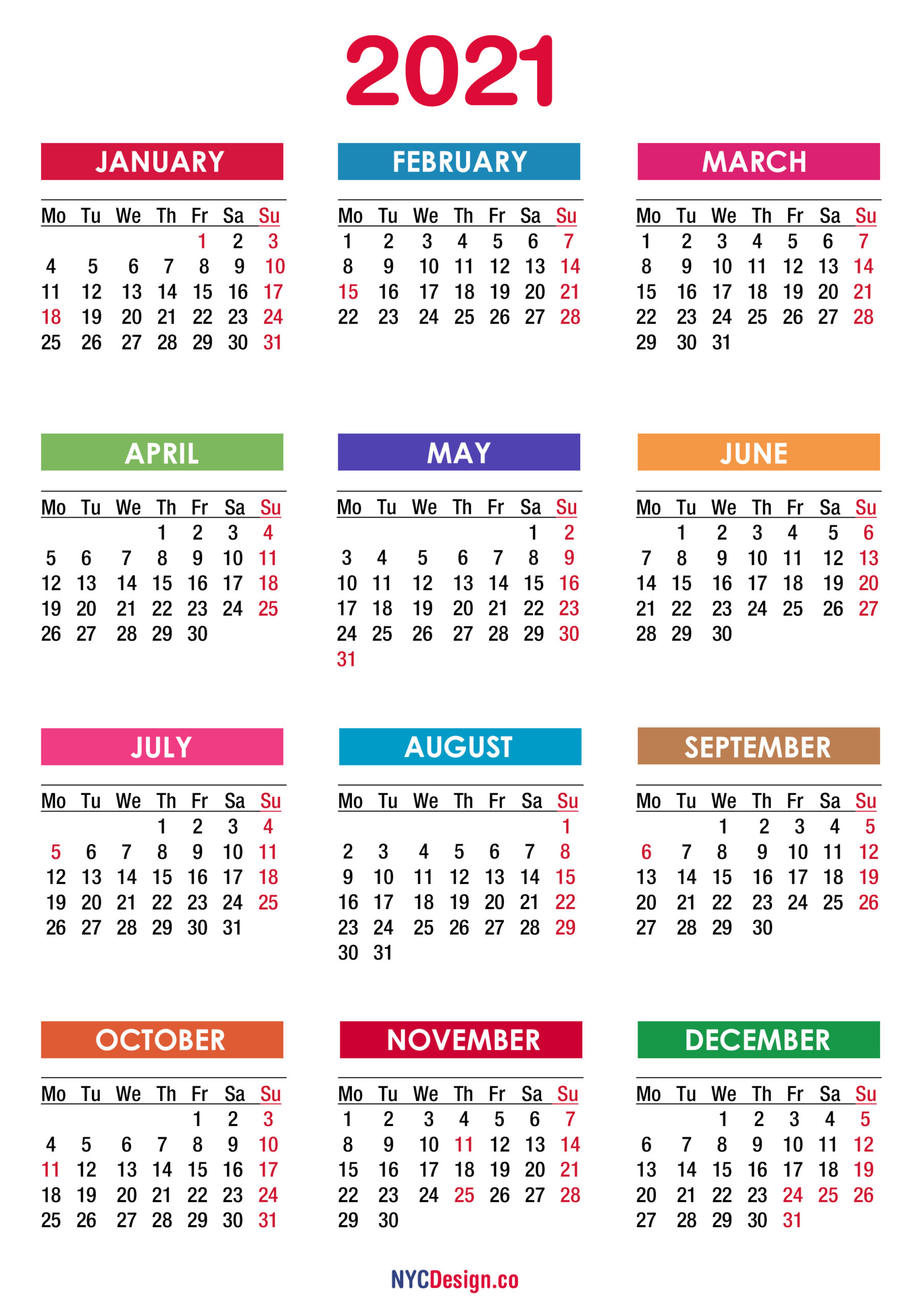 Free Printable Monthly Calendars Monday Start | Example