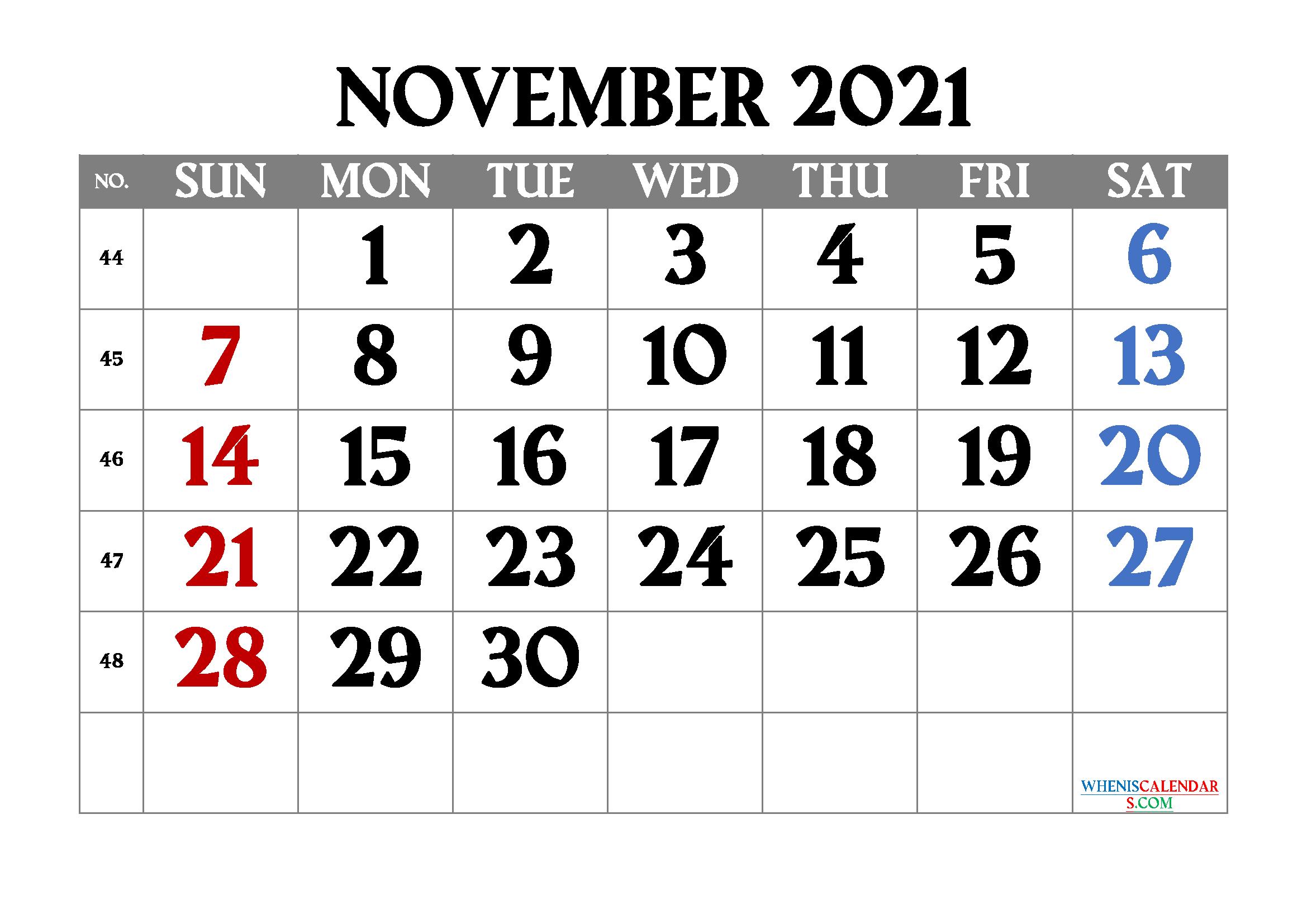 Free Printable November 2021 Calendar   Template M21Amagro1