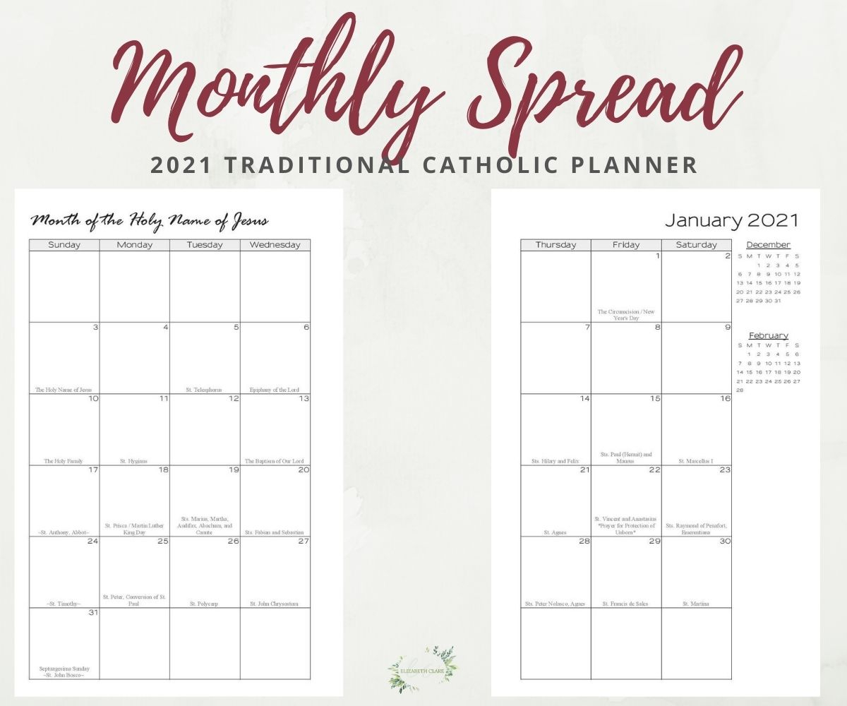 Free Printable Roman Catholic Liturgical Calendar 2021 Pdf