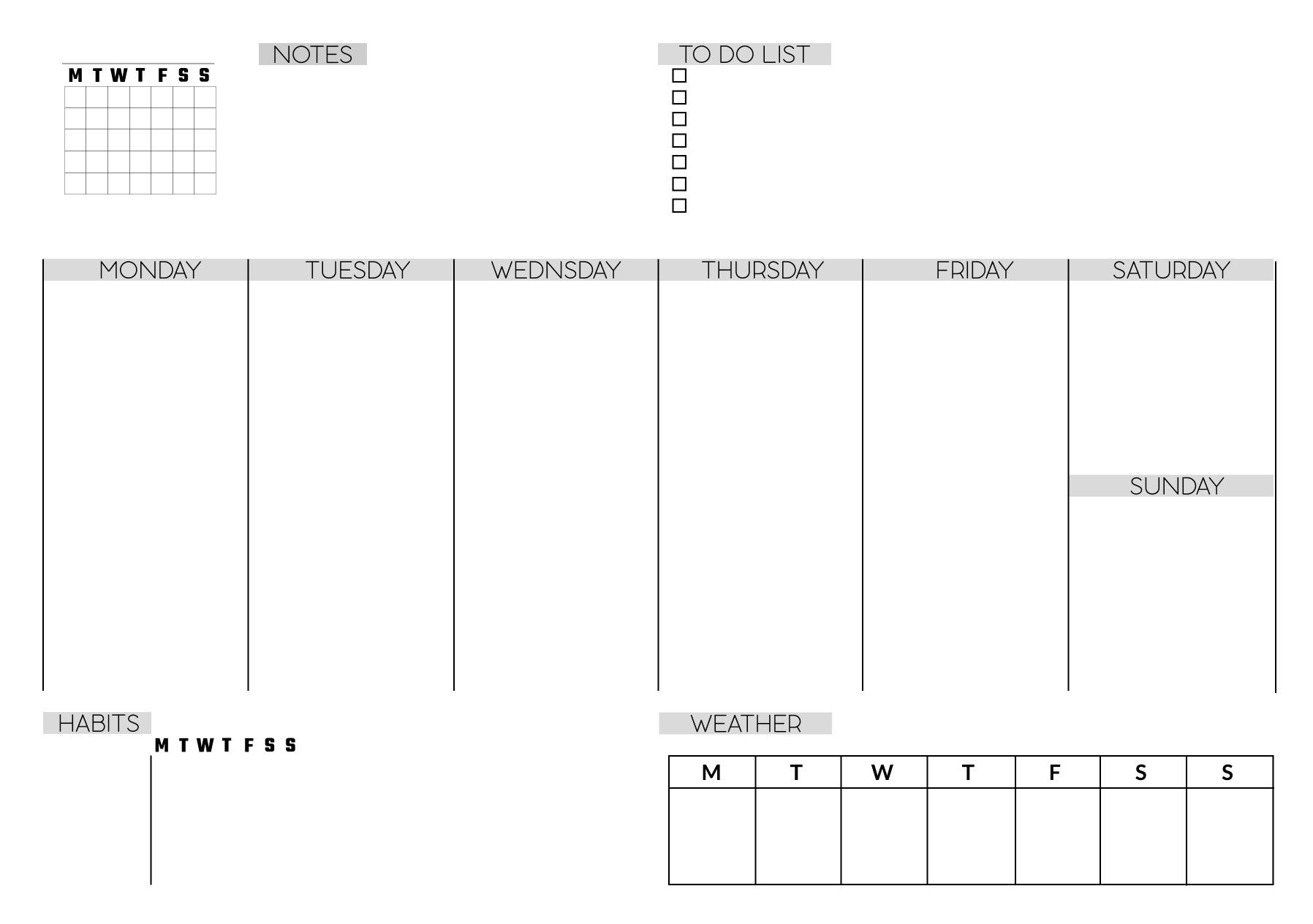 Free Printable Weekly Planner, Minimalistic, To Do List