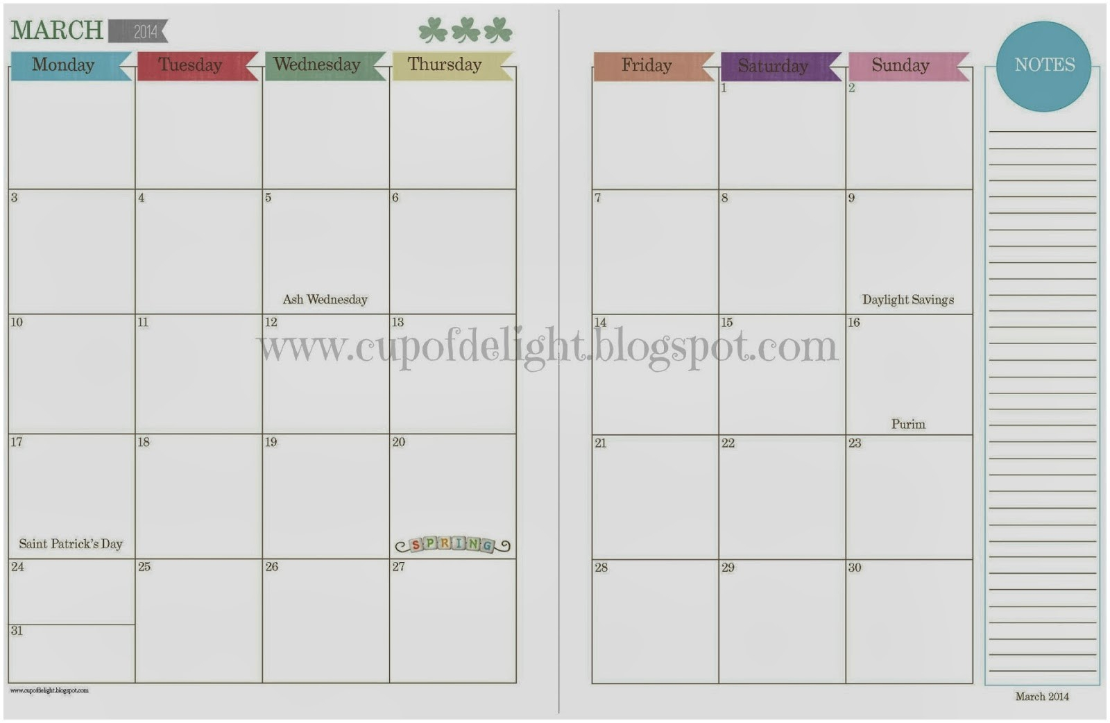 Free Two Page Monthly Planner Templates | Example Calendar