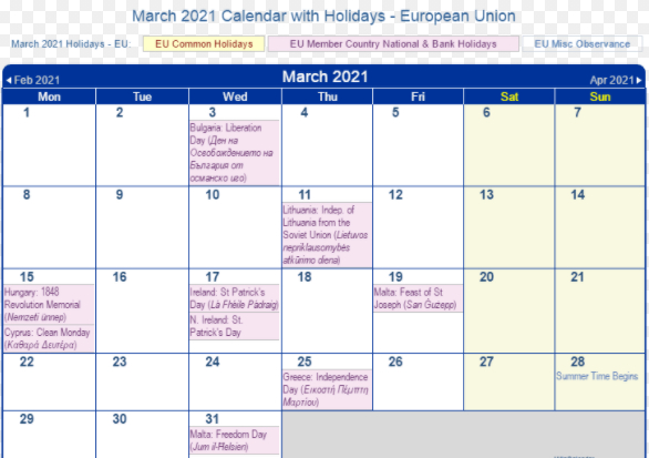 Full List Of March Holidays 2021 Calendar With Festival
