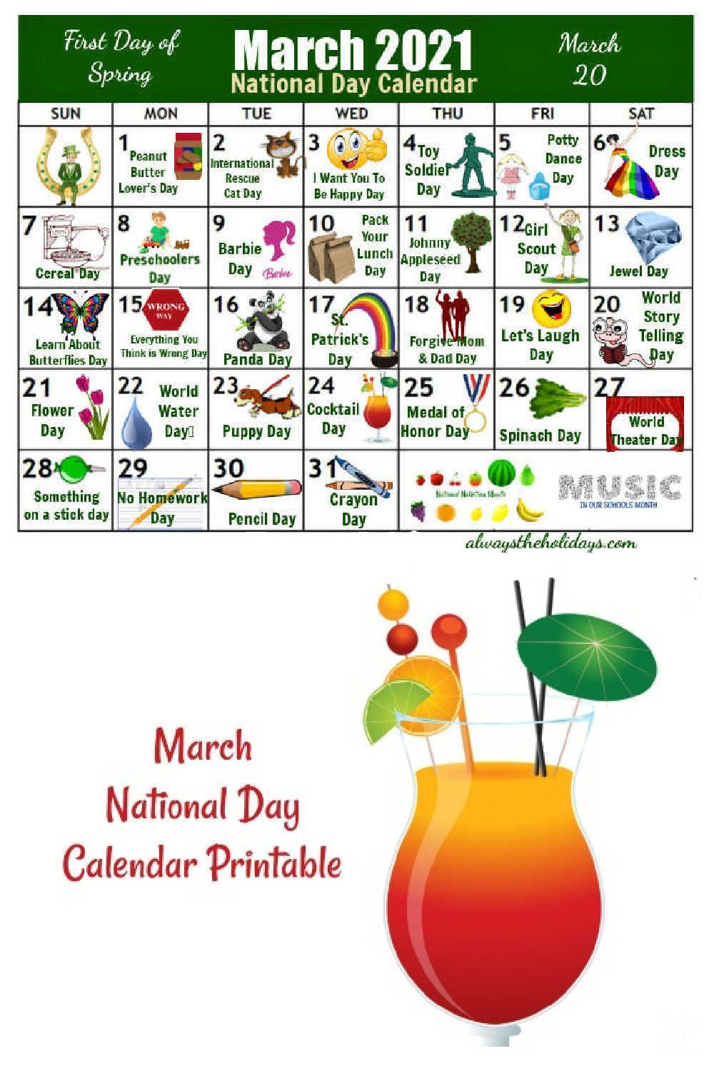 Get Your Printable Calendar For March National Days In
