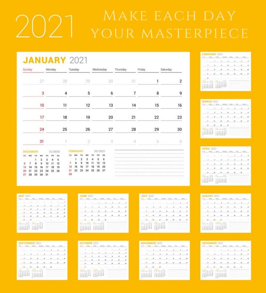 Inspirational 2021 Calendar With Quotes, Sayings