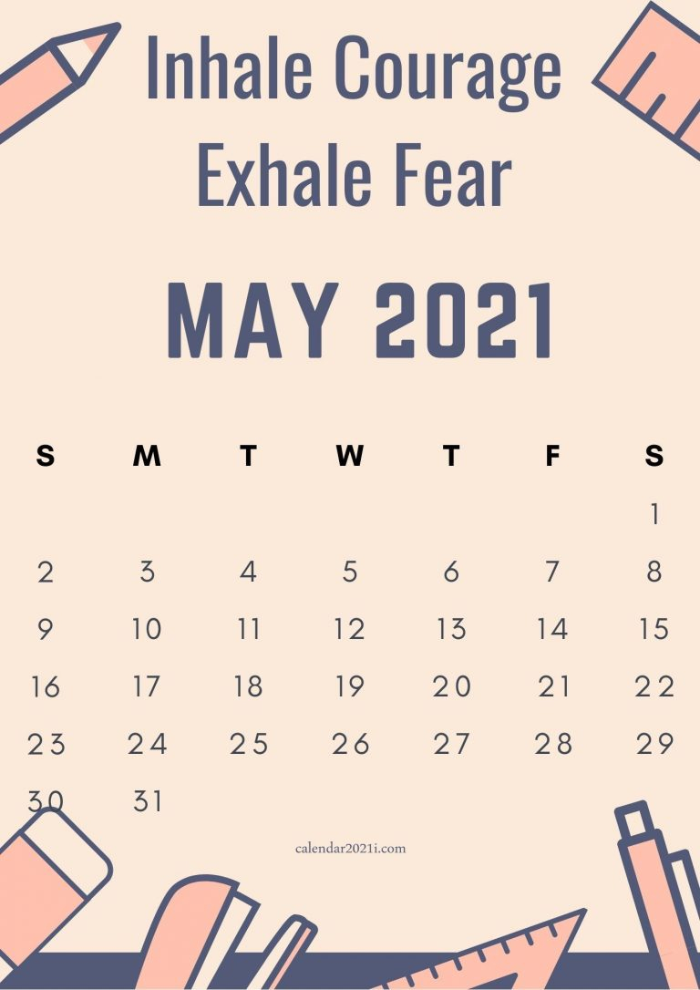 Inspirational May 2021 Calendar With Quotes Free Download