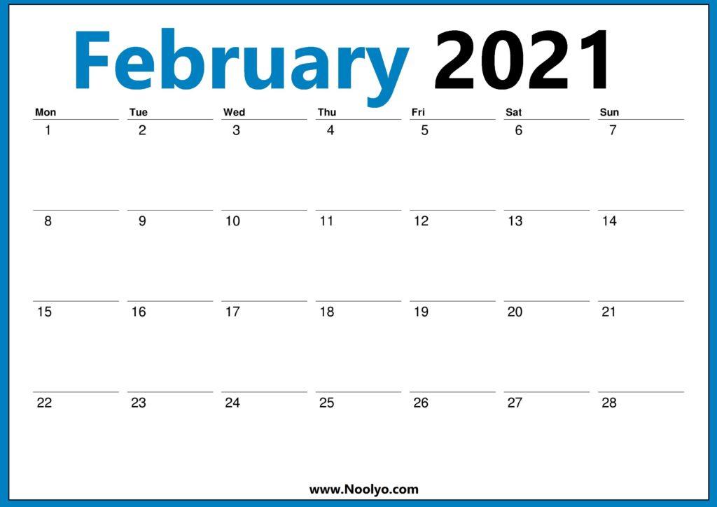 January 2021 Calendar Monday Start - Noolyo