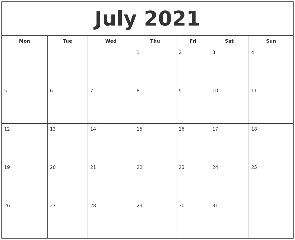 July 2021 Printable Calendar