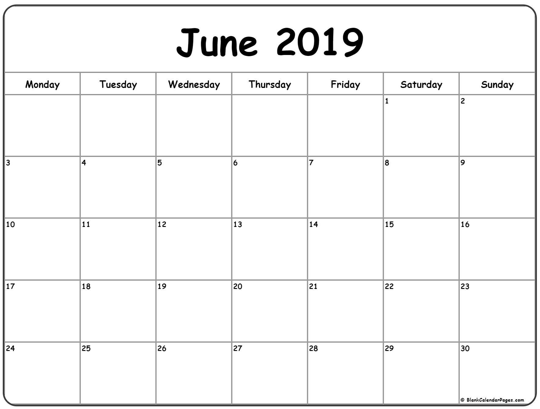 June 2019 Monday Calendar. Monday To Sunday | Calendar